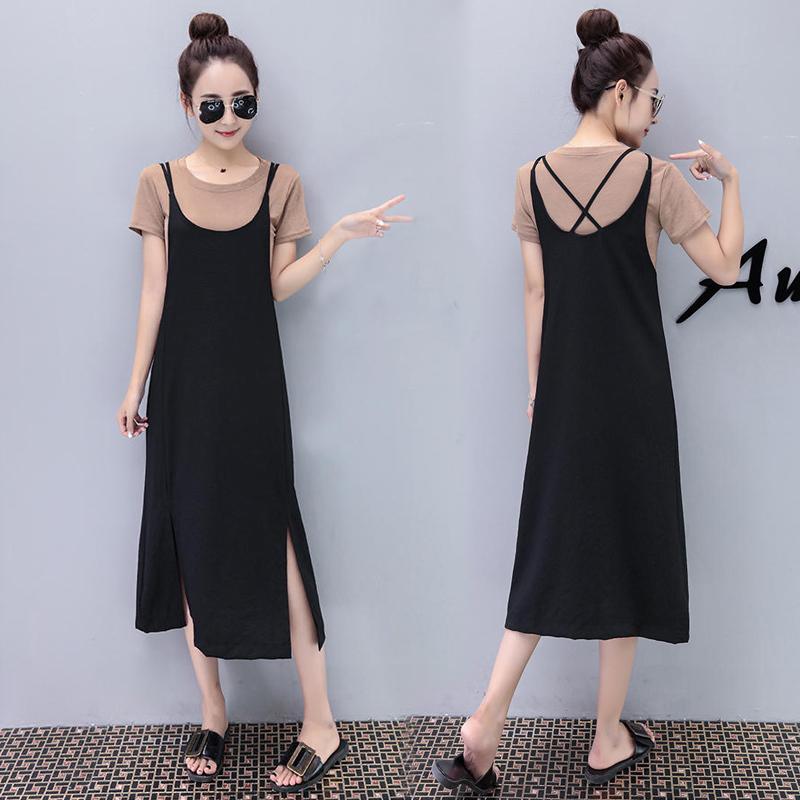 2018夏季新款韩版女装T恤吊带连衣裙中长款宽松开叉背带裙两件套