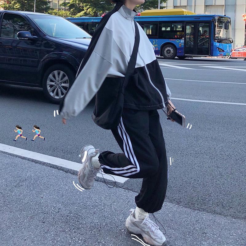 运动炸街套装女秋季宽松洋气复古减龄轻熟赫本港风休闲两件套chic图片