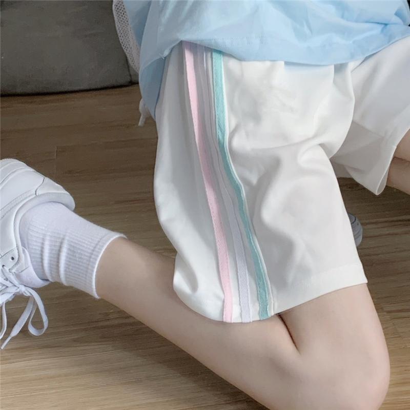 运动休闲短裤女2020新款夏季宽松韩版高腰显瘦阔腿直筒五分中裤子