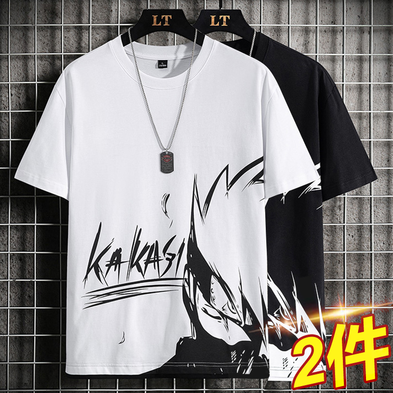 Summer Naruto short-sleeved T-shirt men's early high school students big children Korean version of the trend summer new teen sleeves