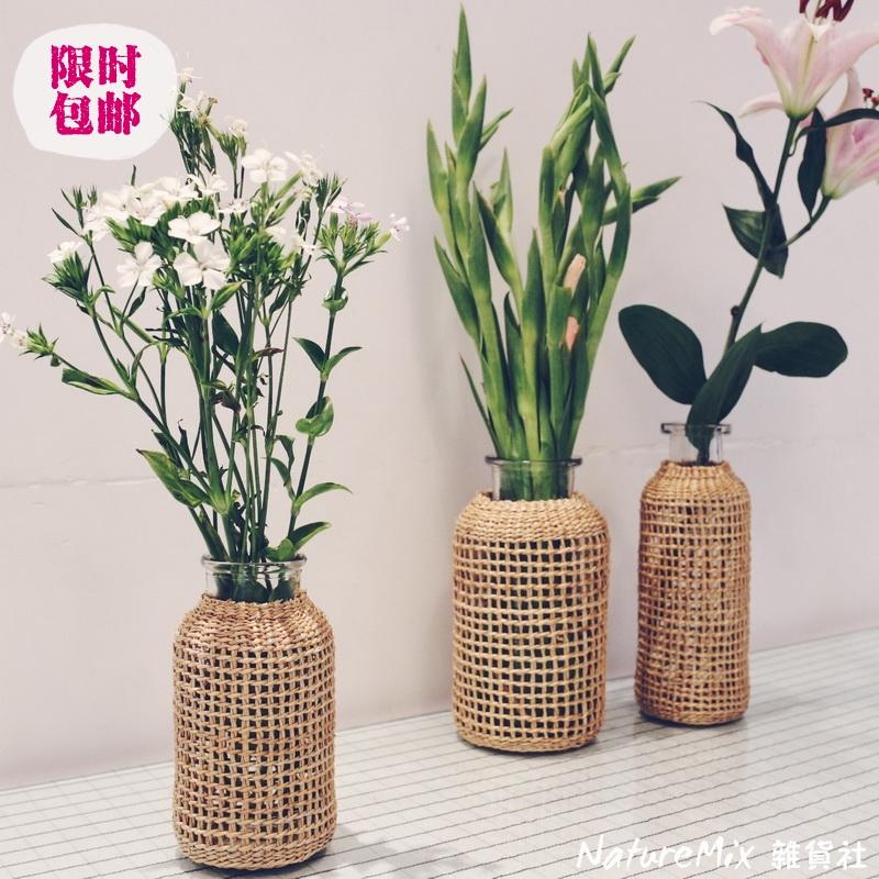 草編みガラスのドライフラワー花瓶は日本系の小さい花瓶です。簡単に創意的な水養植物のサイズ番号は北欧insフラワーバスケットです。