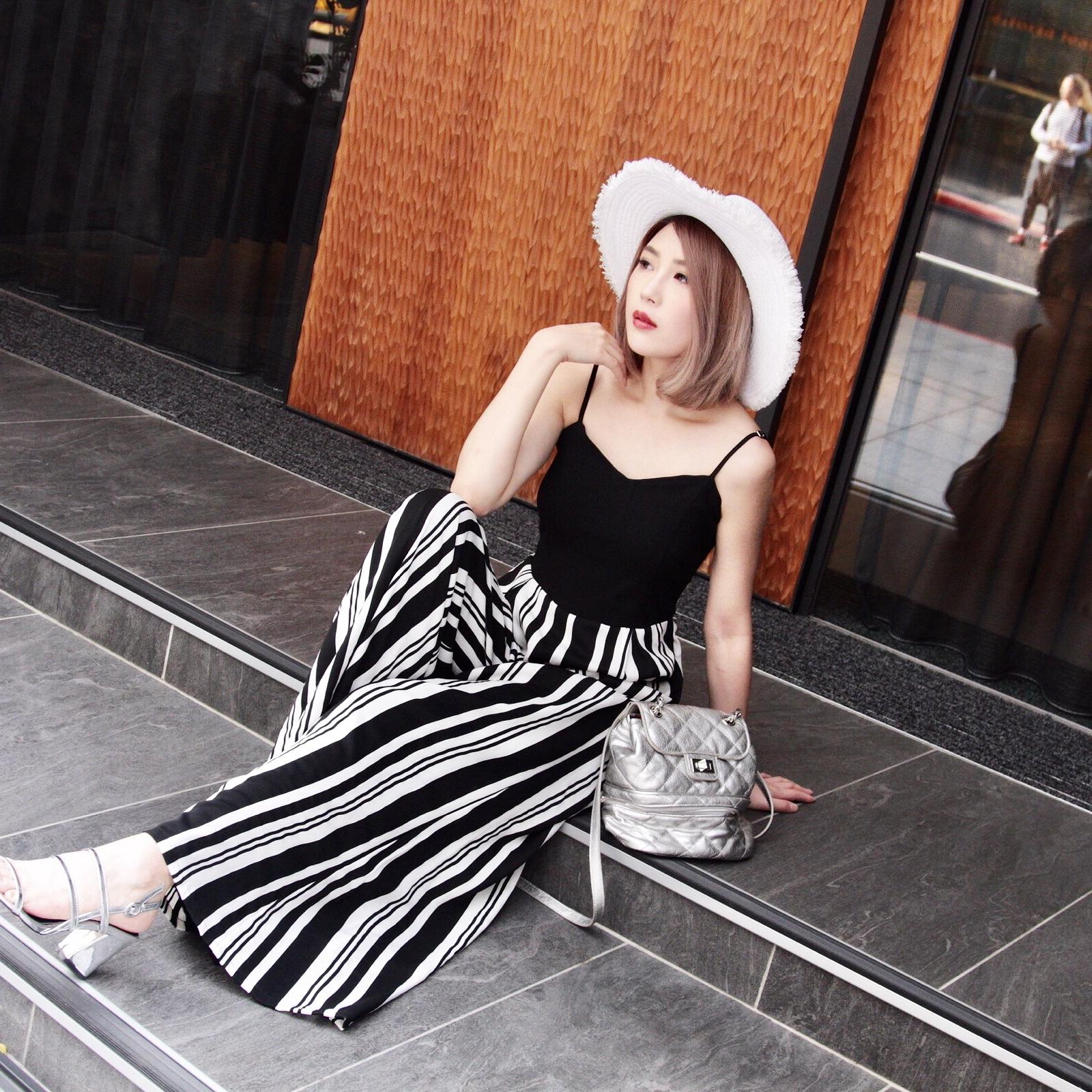 New summer 2018 Bohemian long skirt stripe suspender contrast Dress Holiday Beach skirt wide leg pants fashion