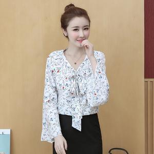 新款花雪纺衬衫女装chic长袖2020新款秋季韩版上衣小衫