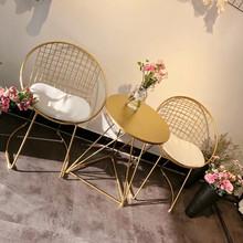 北欧铁艺阳台桌椅三件套创意奶茶小迷你茶几休闲小圆桌椅子组合