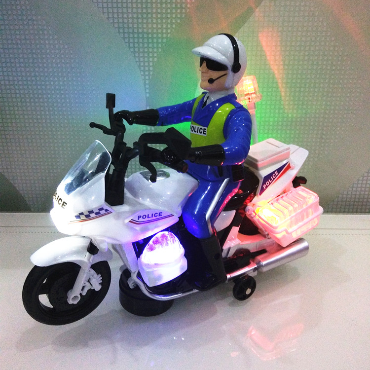 男孩音乐声光儿童玩具车万向摩托车城市警察车交警摩托车仿真模型