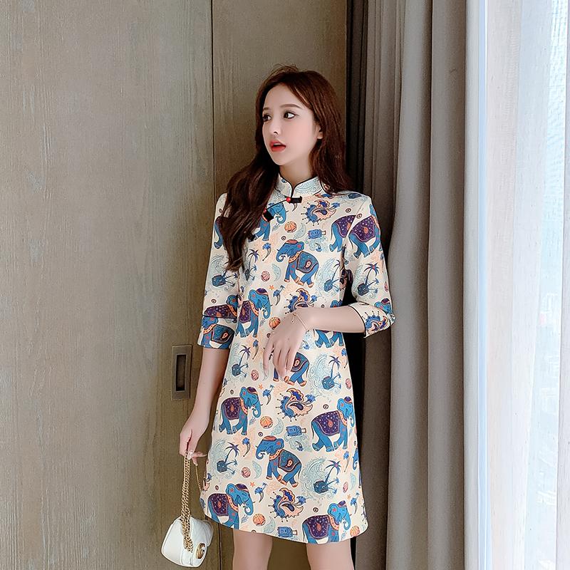 婦人服2020夏服新型中国風に改良されたチャイナドレスの若い洋風プリントのスカート。