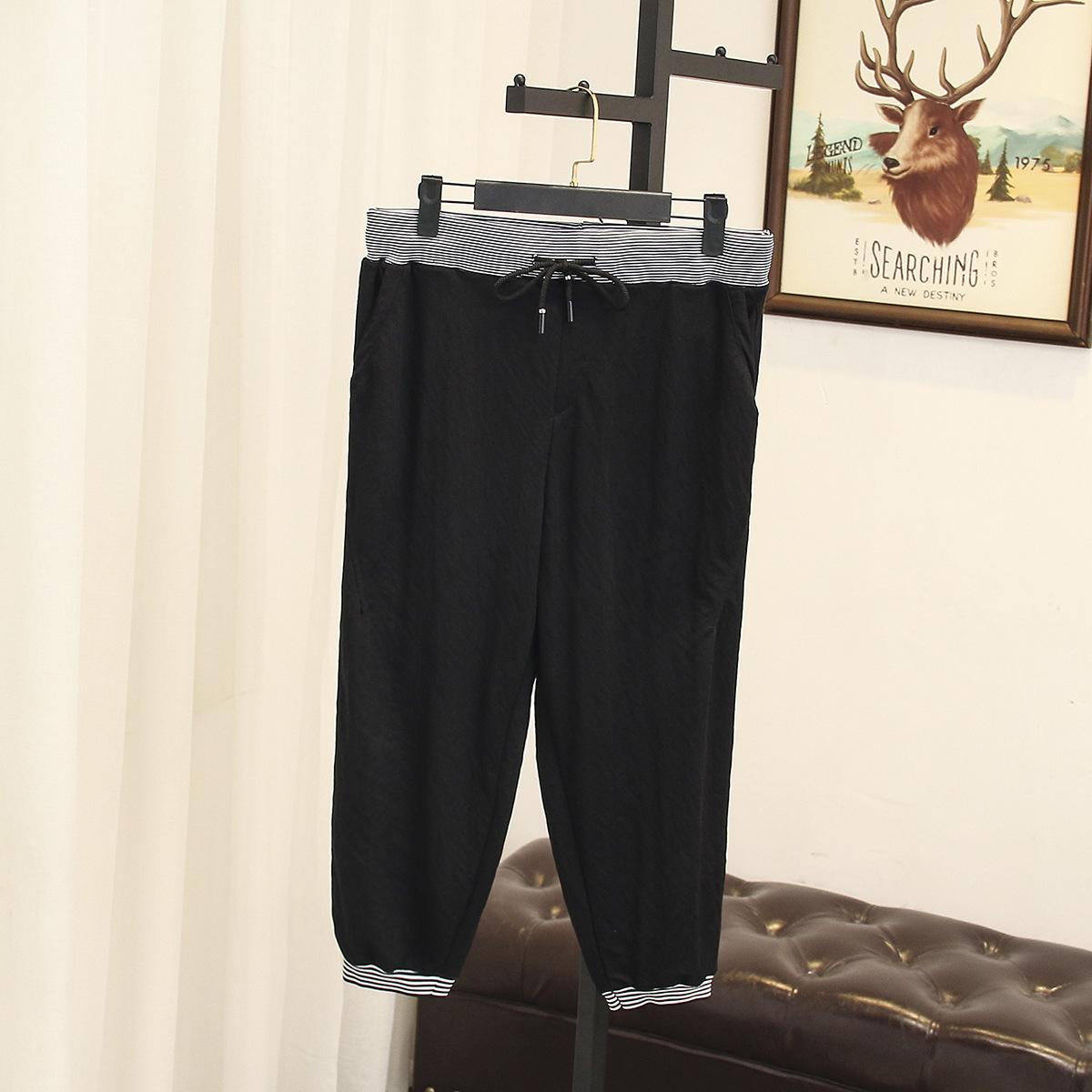 2018夏大码女装胖MM120-200斤韩版2XL-4XL加肥宽松休闲条纹七分裤
