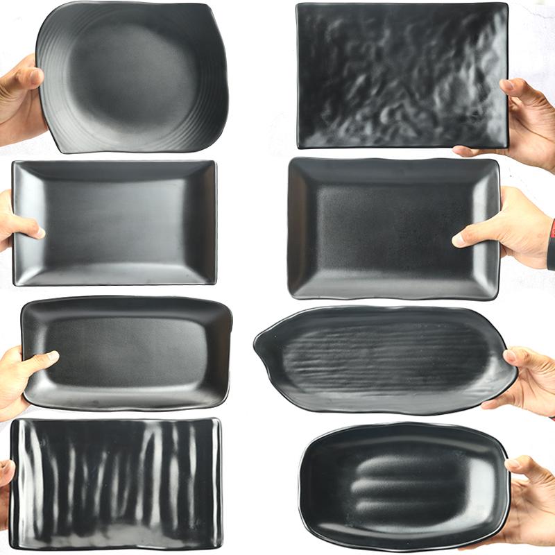 密胺餐具黑色盘子商用创意盘火锅店配菜仿瓷烧烤碟海鲜辣小炒盘子