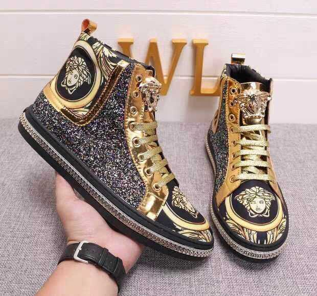 Europe Medusa mens shoes 2019 fashion sequins gold high top shoes beauty head metal printing shoes net red