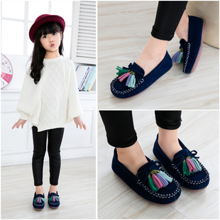 Girls Shoes spring models 2017 new children's baby girl leather shoes Peas Korean version of the Spring and Autumn Princess shoes tide shoes