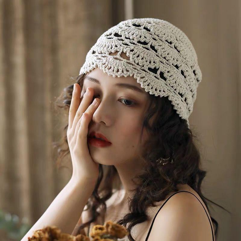 Knitted hat childrens hand knitted lace hollow headgear retro flower headgear four seasons wool melon skin hat