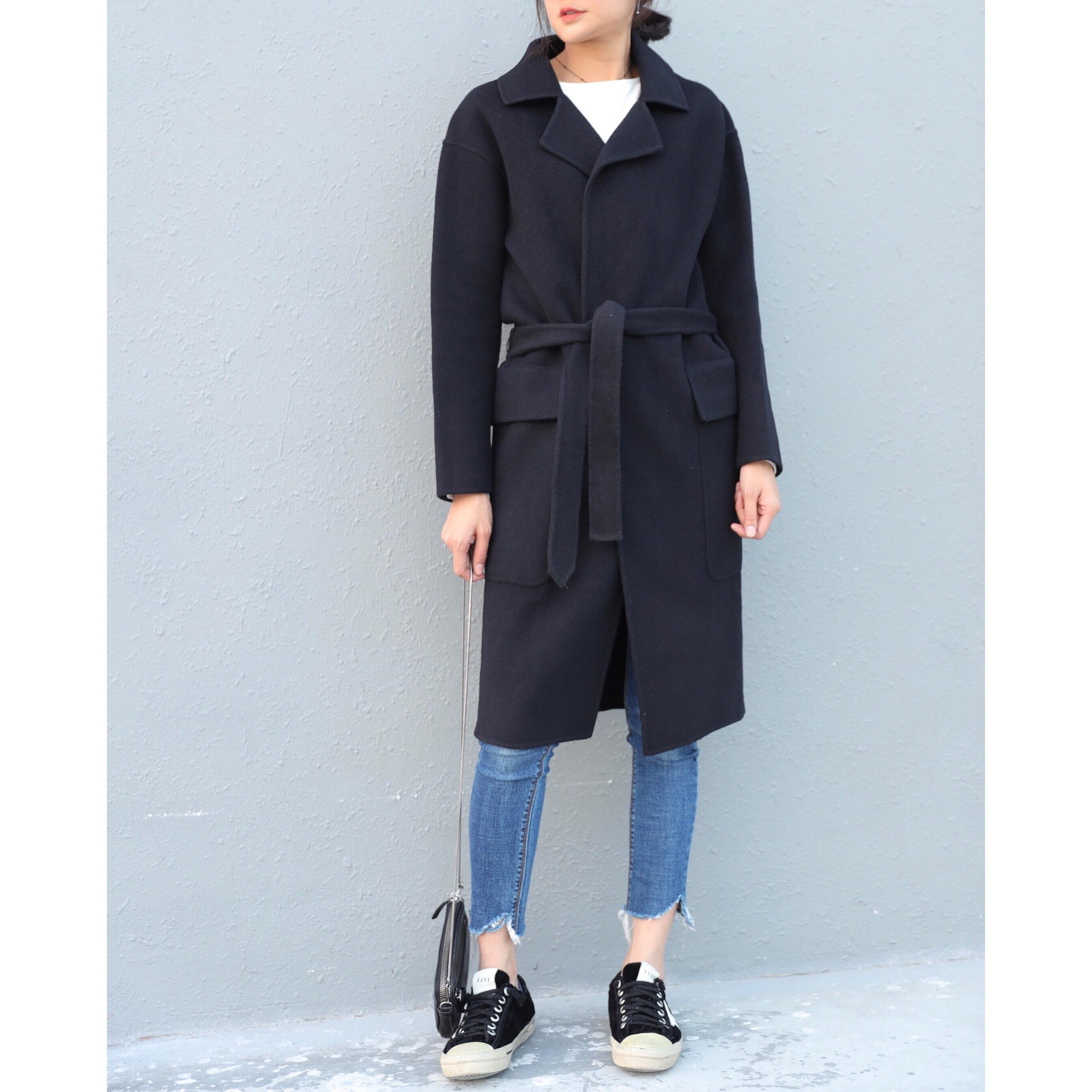 Ulzzang корея 2017one семь осенью и зимой новый лацкане сплошной цвет талии длинный участок кашемировый куртка женщина