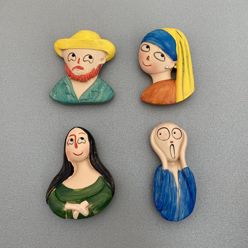 Cartoon cute Q version world famous painting Van Gogh Mona Lisa shouting magnetic resin refrigerator sticker
