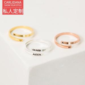 定制戒指女ins风情侣对戒刻名字个性时尚开口钛钢14K玫瑰金闺蜜戒