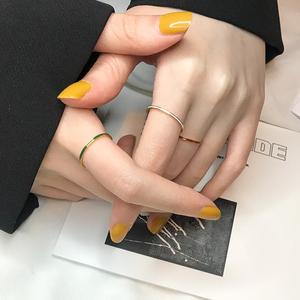 日韩超细ins尾戒IPG18K彩色戒指钛钢指环细尾戒韩版细关节戒指