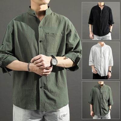 亚麻衬衫男短袖衬衣男士立领棉麻七分袖韩版很仙的痞帅潮流dk上衣