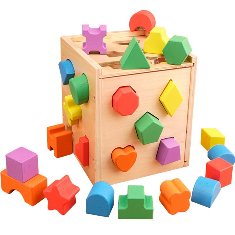 Ребенок головоломка игрушка 2 для 1-3 лет обучения в раннем возрасте мужской и женщины ребенок ребенок пряжка пещера больше отверстие форма геометрия интеллект коробка строительные блоки