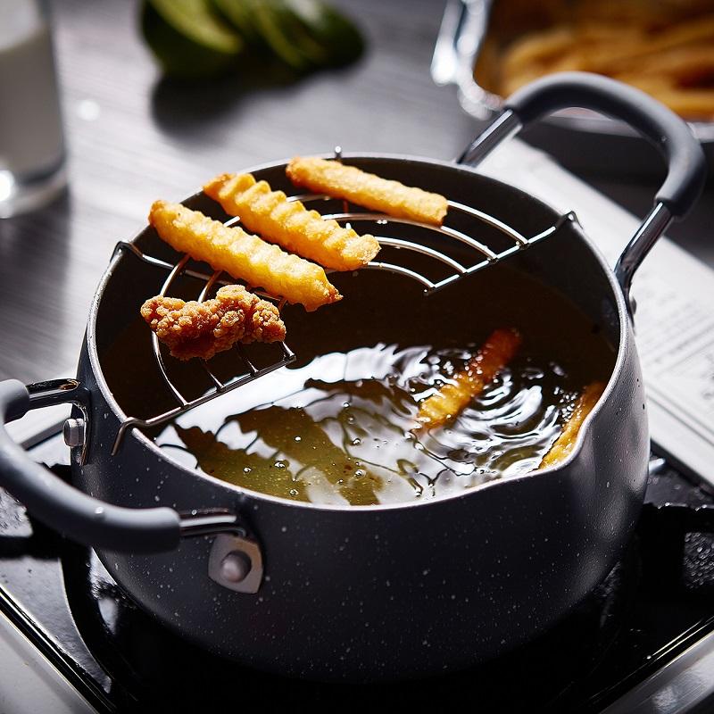 天妇罗油炸锅家用小省油麦饭石日式迷你小型电磁炉燃气通用炸油锅