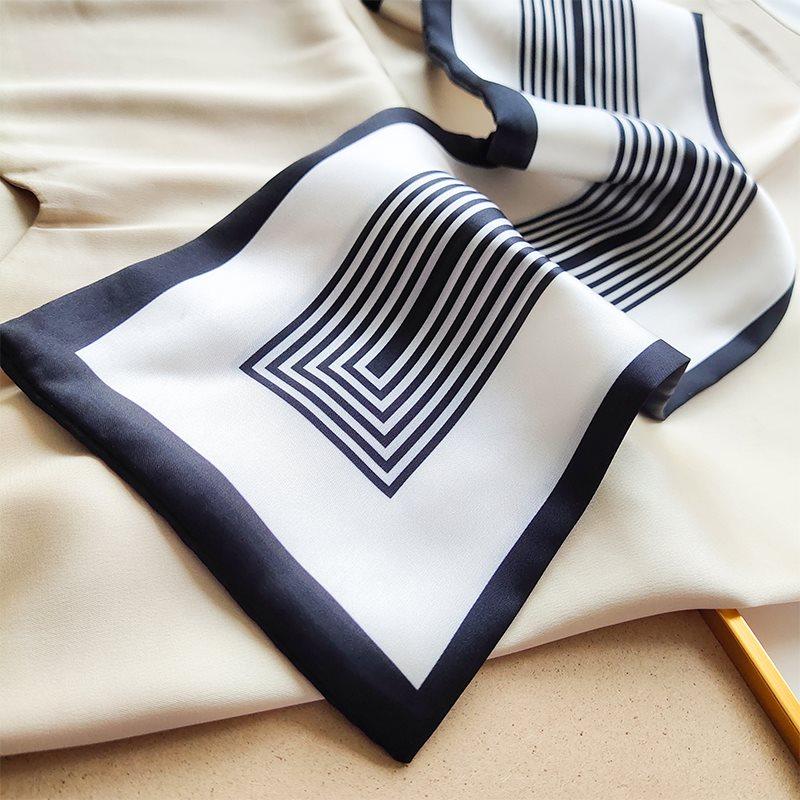黑白条纹小丝巾女士长条春秋百搭装饰小领巾夏薄款苏明玉围巾丝带