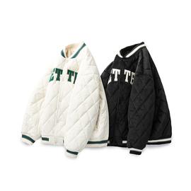 日系复古冬季加厚棒球棉服外套男女款宽松bf中性风菱形格子棉衣潮