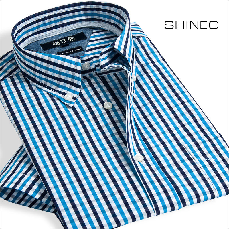 Fashionable clothes in summer fashionable Plaid Shirt Mens short sleeve slim fit cotton no iron business casual splicing mens shirt