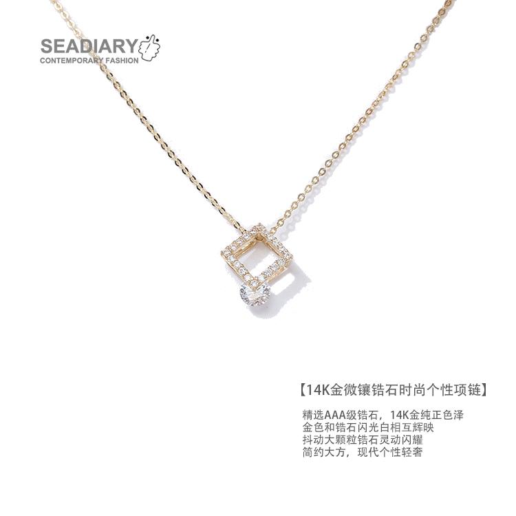 韓国の14 K金のネックレスの女性のジルコンのセーターのチェーンは骨の鎖のカラーの金のネックレスを鎖鎖します。