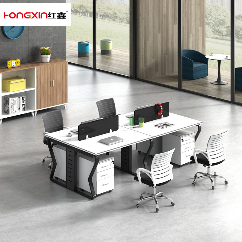 Simple desk, modern staff desk and chair combination, double 6-4-2-person staff card seat, Wuhan Office Furniture Customization