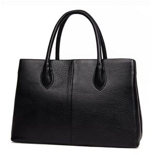 新款欧美时尚真皮包包女式大容量百搭手提单肩包女包黑色女士包袋