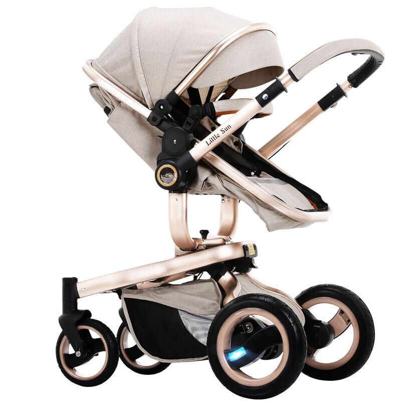 婴儿推车可坐可躺欧美高景观四轮避震超宽双向宝宝手推车,可领取元淘宝优惠券
