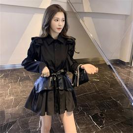 2020初秋新款复古赫本风收腰显瘦衬衫式连衣裙女黑色气质约会裙子