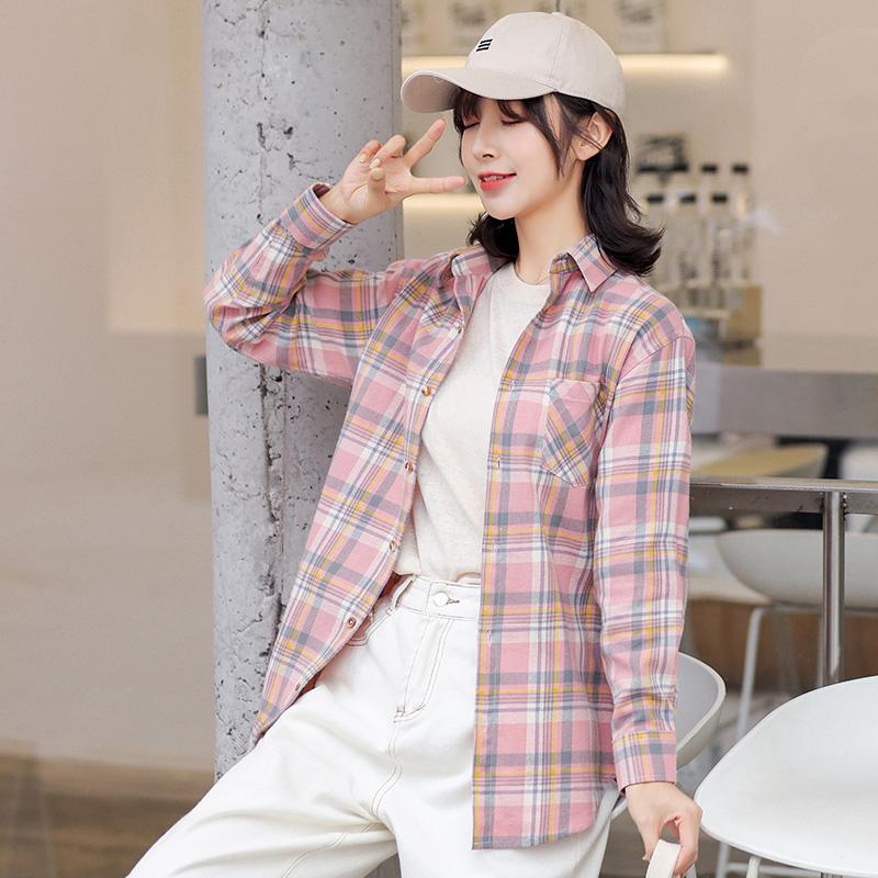 纯棉格子衬衫女长袖2020春装新款宽松复古港味少女感学生衬衣上衣