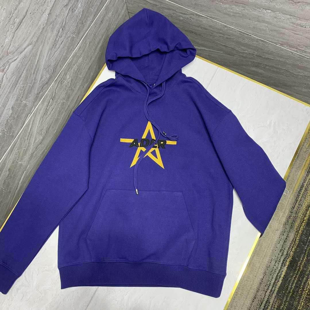 现货ader2021春秋字母五星图案刺绣连帽卫衣男女情侣款紫色帽衫