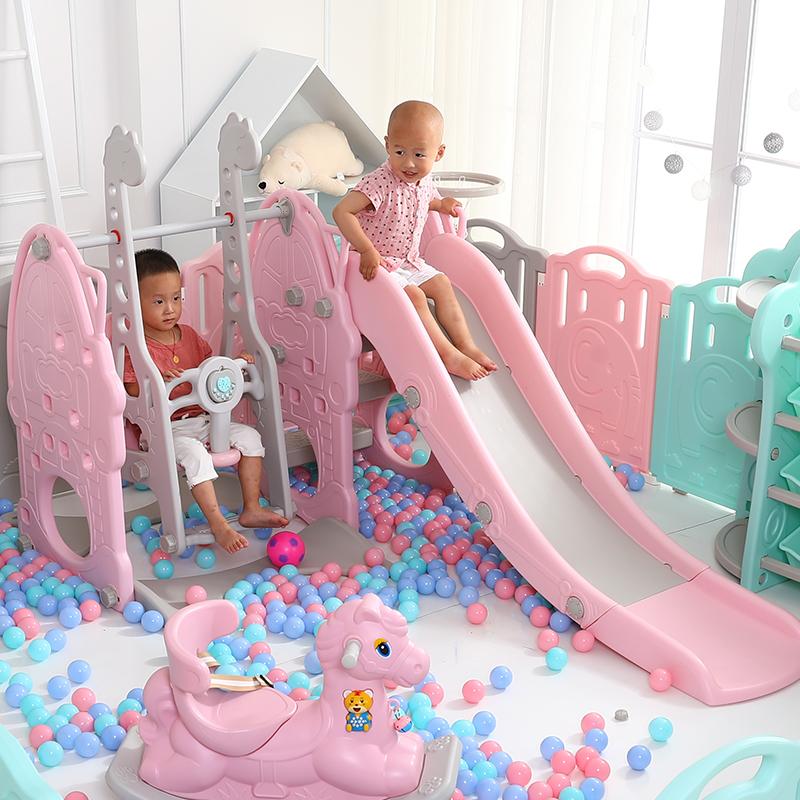�和�室�然�梯多功能三合一滑滑梯�����M合滑梯秋千塑料加厚玩具