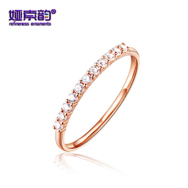 娅索韵18K金戒指 黄金白金玫瑰金彩金对戒尾戒情侣彩金戒指首饰品