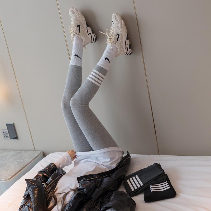 2021新款灰色螺纹tb打底裤女外穿春秋薄款紧身弹力秋裤加绒加厚冬