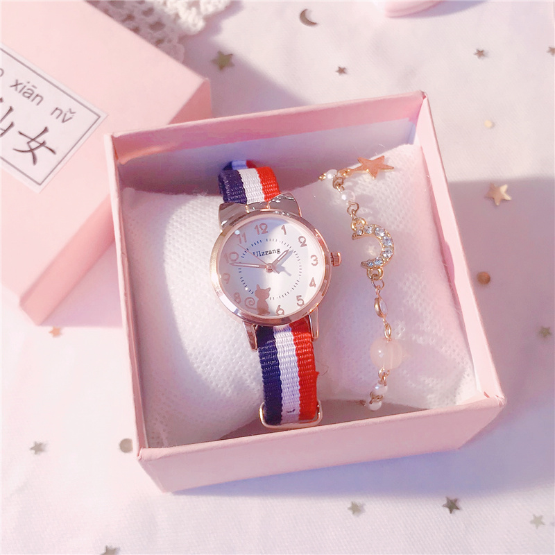 2020 new childrens watch girl canvas cute cartoon Korean Trend primary and secondary school girls