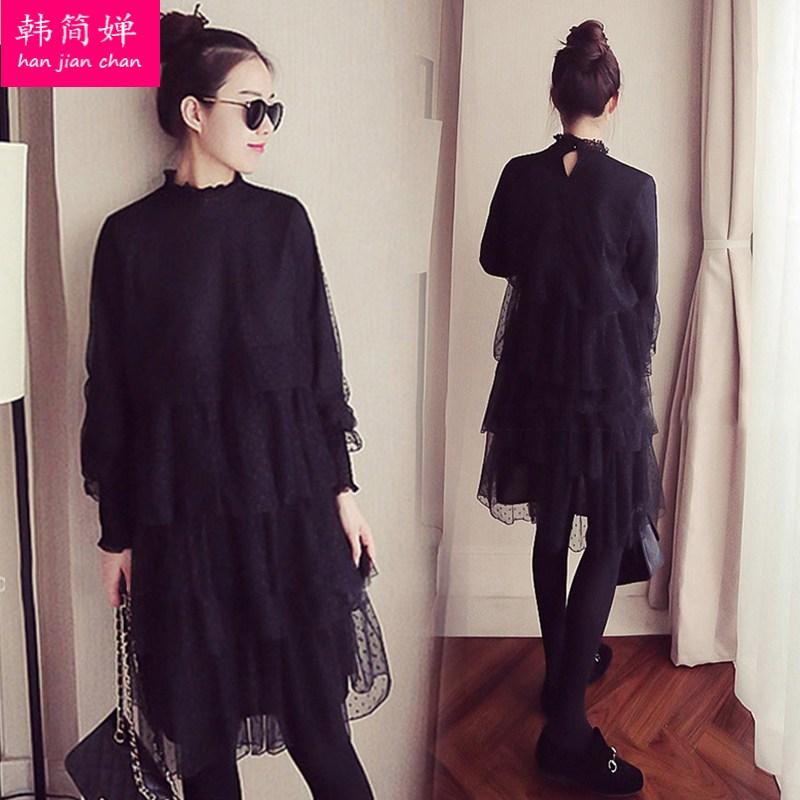 2018秋冬季新款女装韩版蕾丝加绒长袖连衣裙中长款宽松保暖打底衫