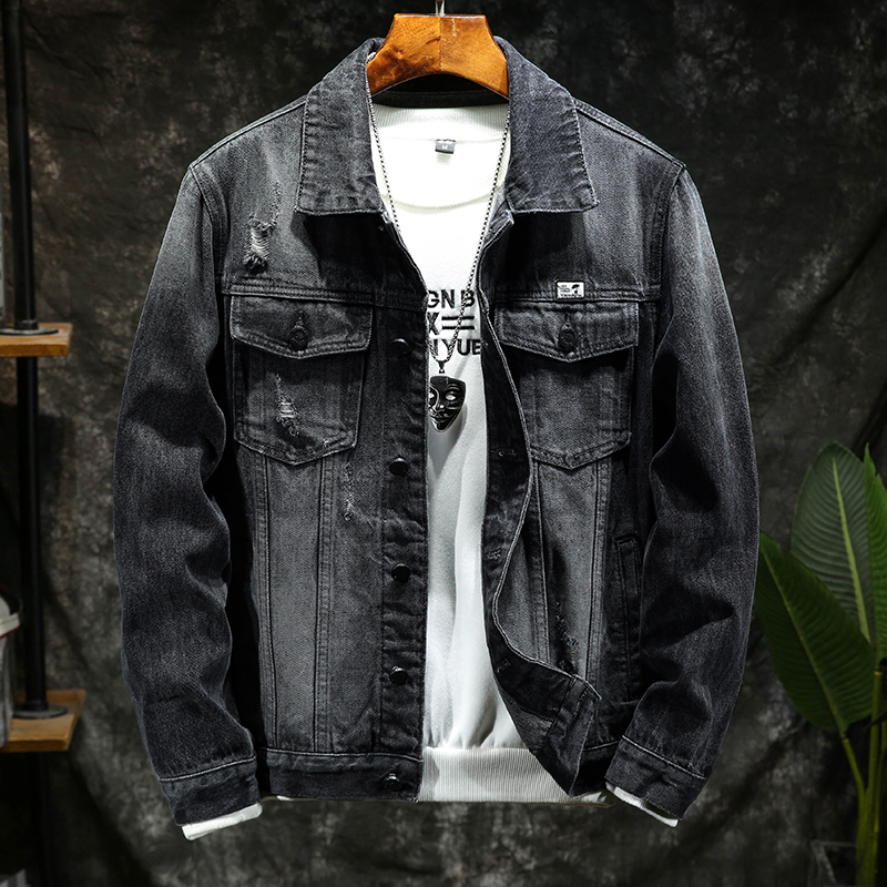 Jeans jacket mens autumn and winter new Korean fashion youth jeans slim detachable Plush thickened jacket