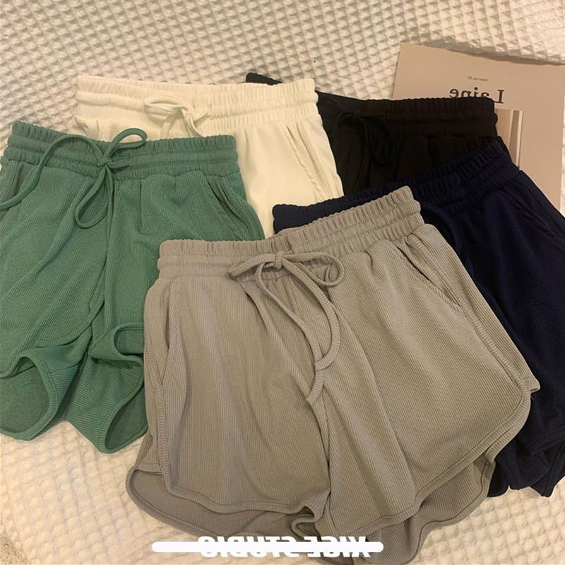 休闲显瘦短裤女夏外穿纯色阔腿宽松大码运动热裤高腰跑步居家睡裤
