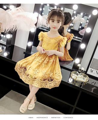 夏季公主裙女童 蓬蓬纱刺绣蕾丝透气宝贝连衣裙仙女裙洋气礼服裙