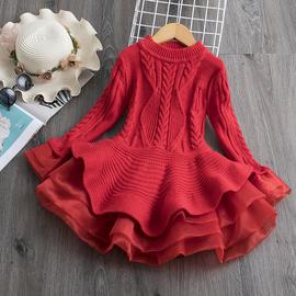 女童毛衣2020新款洋气童装冬大童秋冬儿童长款女孩针织毛衣连衣裙