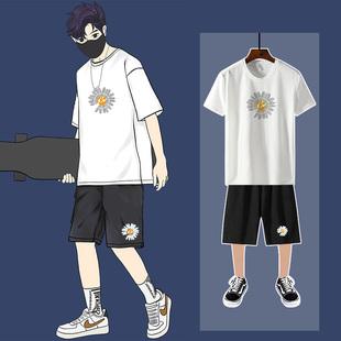 小雏菊短裤男运动套装宽松夏季男士五分裤大码沙滩裤潮休闲两件装