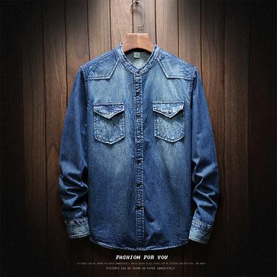 2018牛仔衬衫男士秋新款上衣韩版外套休闲衬衣潮长袖 5368-P68