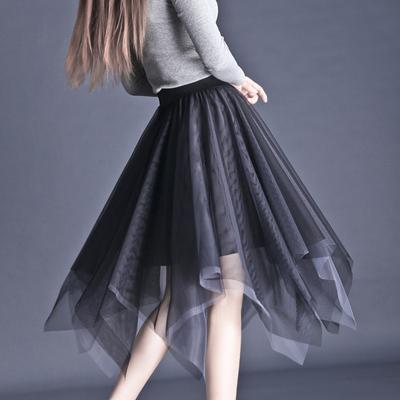 2019秋冬渐变色网纱半身裙女双色仙女不规则中长款显瘦垂感蓬蓬裙