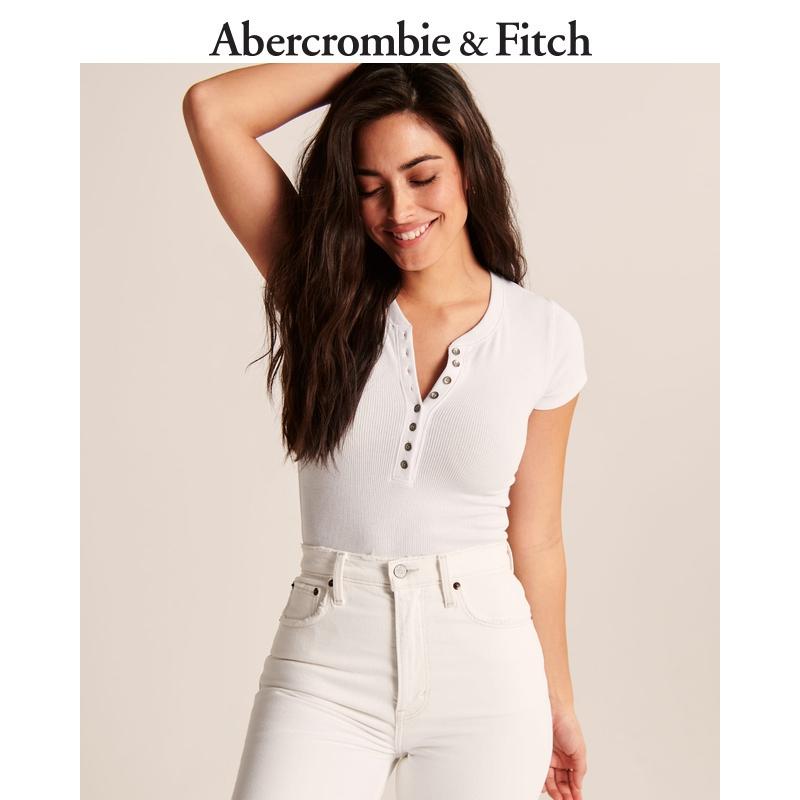 Abercrombie&Fitch女装 V领短袖亨利式按扣式连体衣 308993-1 AF