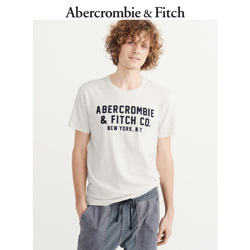 季末特惠 Abercrombie&Fitch 男装 贴花 Logo 款 T 恤 155839 AF