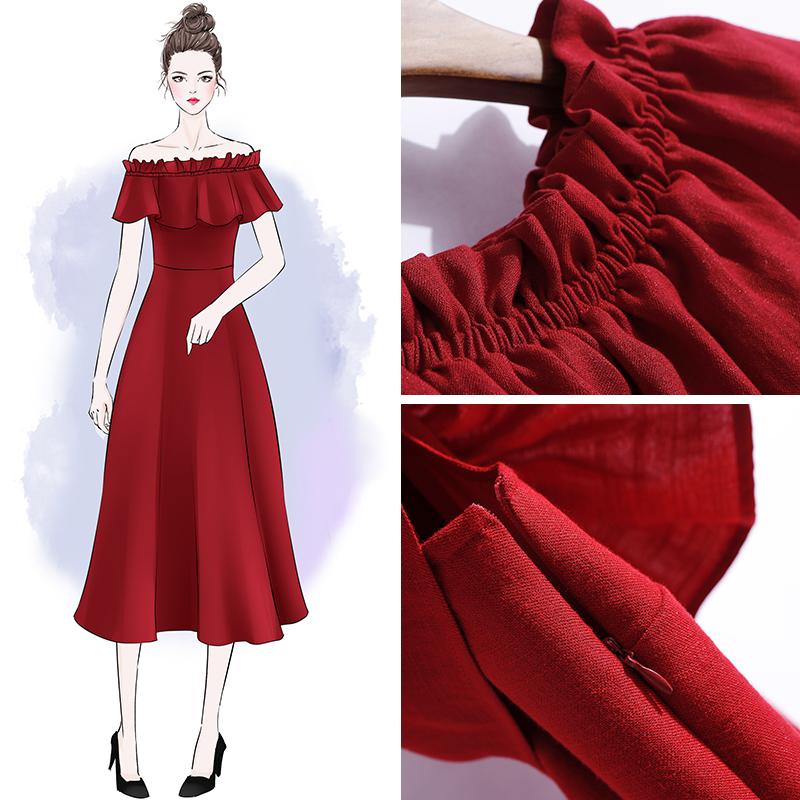 一字肩连衣裙女性感仙气长裙2020夏季海边度假抹胸很仙的红色裙子