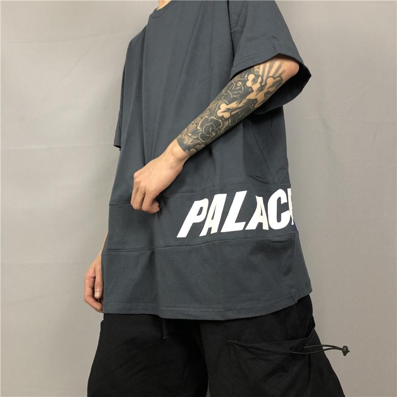 欧美高街 PALACE 侧边拼接LOGO INS潮牌男女夏季百搭圆领短袖T恤