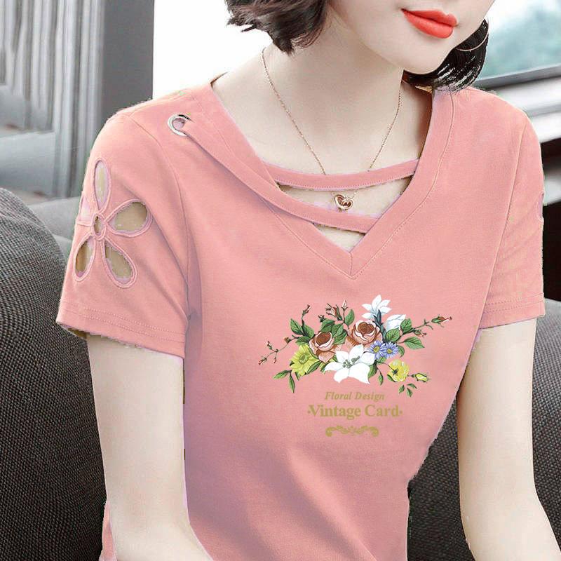 V领t恤女士短袖2021夏装新款韩版修身半袖时尚中年妈妈装大码上衣