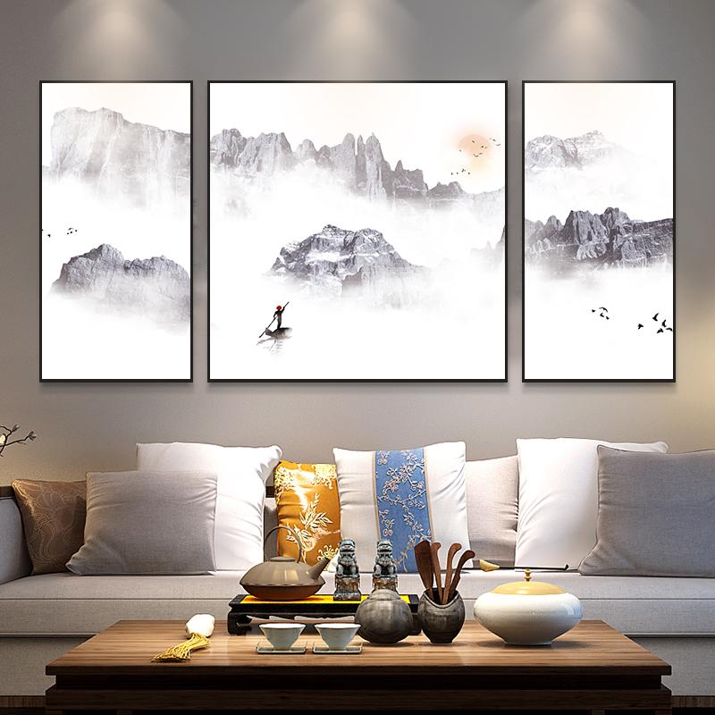 轻奢大气客厅装饰画沙发背景墙山水新中式背有靠山办公室墙壁挂画